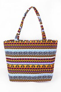 "Aztec Print Canvas Tote Bag - Orange14"" x 13"", top zip closure"