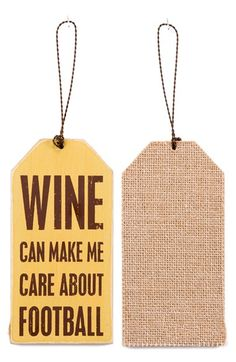 PRIMITIVES BY KATHY 'Wine Can Make Me Care About Football' Wine Bottle Tag available at #Nordstrom