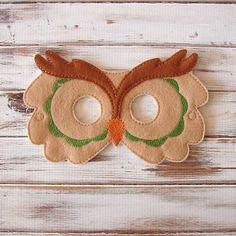Owl Mask - Felt - Kids Mask - Green - Costume - Dress Up - Halloween