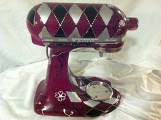 "Custom Kitchen Aid Mixer- Just finished adding some love to my friend's mixer. ""Plum Daddy"" turned out great!"