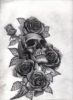 roses and skull by Bobby-castaldi-art