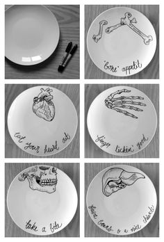 Rio posted diy halloween plates to their -halloween time! Sharpie Plates, Sharpie Art, Black Sharpie, Sharpies, Sharpie Crafts, Tape Crafts, Fall Halloween, Halloween Crafts, Halloween Decorations