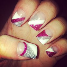 Pink & silver glitter with white gel nails :) love!