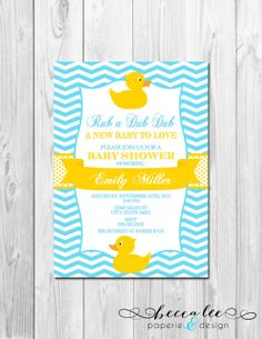 Rubber Duck Baby Shower Invitation - Chevron Stripes - Blue and Yellow - DIY - Printable