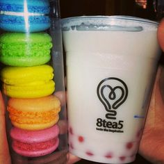 vanilla bubble tea and macarons