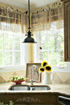 DIY No Sew Burlap Kitchen Valances Made from Coffee Bags,