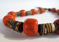 Exotic Indonesian batik fiber Necklace by Gilgulim on Etsy, $56.00