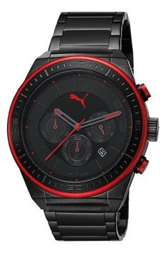 Puma Motorsport Edge Unisex Quartz Watch with Black Dial Chronograph Display and Black Stainless Steel Bracelet PU102911002 by Puma,