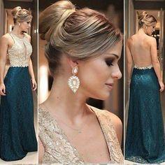 Madrinha de casamento - vestido verde e dourado