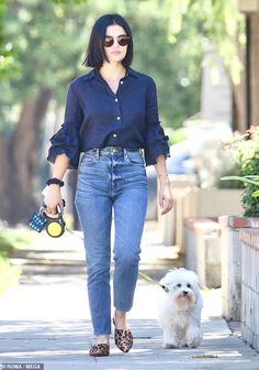 Hale proves she's still a style icon even when walking her dog - Lucy Hale is a doting fur parent as she walks pet pooch Elvis Shorts Outfits Women, Girl Outfits, Casual Outfits, Fashion Outfits, Short Girls Outfits, High Street Fashion, Street Style, Estilo Lucy Hale, Lucy Hale Outfits