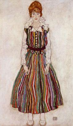 Egon Schiele, 'Portrait of Edith Schiele in a Striped Dress', 1915