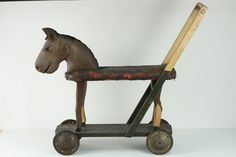 Antique Wooden Toy Horse Scooter circa 1800s