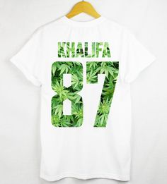 Underground Outfits Feature: © 1 OAK Clothing - Khalifa 87 Weed T-shirt -- Visit our online store at: shop.undergroundoutfits.com. -- #streetwear #urban #clothing #fashion #style #tee #tshirt #khalifa #white