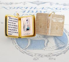 Miniature Book Charm Quote Pendant by VintageCharmedBooks on Etsy