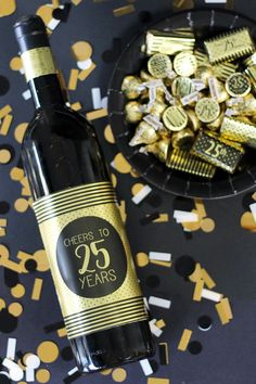 Black And Gold 25th Birthday Metallic Foil Wine Bottle Labels Use These