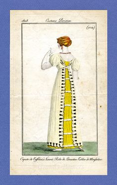 """1808, journal des dames. """"Levantine"""" gown with muslin apron. (""""tablier,"""" apron, or what we might have called a pinafore)."""