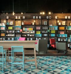Cielito Querido Cafe, Mexican coffee shops Model: Diagonal & London Handmade Cement Tiles Collection by Original Mission Tile Cement tiles were installed in the whole floor and walls. Design Café, Cafe Design, Store Design, Floor Design, Design Ideas, Design Inspiration, House Design, Design Color, Design Concepts