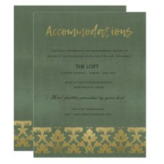 CLASSIC GOLD DAMASK FLORAL PATTERN ACCOMMODATION CARD - formal speacial diy personalize style template