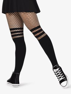 fd515dc94c563 Womens Opaque Faux Thigh High Fishnet Dance Tights