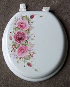 HAND PAINTED TOILET SEAT/ROSES/MAROON/PINK/LAVENDER/ in Home & Garden | eBay