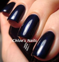 My new nail color for fall. Essie's Midnight Cami (navy blue) - I love navy nails!