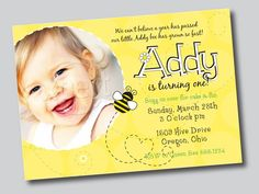 Bumble Bee Party Collection  PRINTABLE INVITATION by by ItsyBelle, $16.00