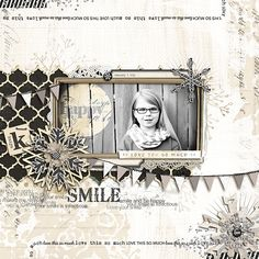 I love how Lindsay used the Collaged Patterns No. 01 with the dark background paper and her snowflake clusters are awesome!  Love Your Happy Smile by Lindsay (bessysue581) of #designerdigitals