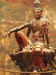 Guanyin of the Southern Sea, Liao or Jin Dynasty Chinese (Nelson-Atkins Museum, Kansas City, Missouri) Lotus Buddha, Art Buddha, Buddha Kunst, Japanese Buddhism, Japanese Art, Guanyin, Religious Art, Ancient Art, Chinese Art