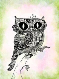 Zentangled Owl by rhinestoner on DeviantArt