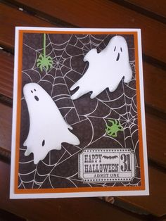 cricut happy hauntings Cricut Halloween Cards, Halloween Paper Crafts, Cricut Cards, Halloween Projects, Halloween Christmas, Halloween Crafts, Halloween Ideas, Fun Crafts, Thanksgiving Cards