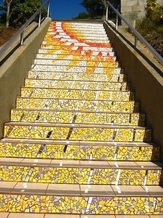 the top of the mosaic Tiled Steps in San Francisco ~ 1700 16th Ave (between Moraga St Noriega St)