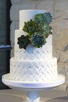 Chevron patterned wedding cake {From: Coco Paloma Desserts}