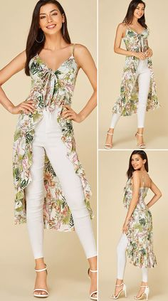 It adorned with floral print and flounced hem design and sleeveless. Petite Dresses, Sexy Dresses, Casual Dresses, Fashion Dresses, Chic Outfits, Dress Outfits, Stylish Tops For Women, Beautiful Evening Gowns, Dress Neck Designs