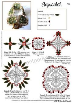 FREE Tutorial - HOPSCOTCH Bracelet Components by Mu. (Also as a PDF Tutorial on the web site). Use: Twin or SuperDuo beads, seed beads 11/0 and 15/0. PAGE 1 OF 2