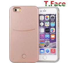 T.Face New LED Lighted Selfie Phone Case - Iphone 6 plus - Great for a Selfie and Facetime, Dimmable (gold). 5 Lighting Settings- dimmer/ strong light/ weak light/ flickering/ SOS(slow flash). The lights bright your selfie - look more beautiful and younger. Tough, Impact Resistant Plastic. Your Phone is Snug and Safe with the Case. It Provides Great Protection - It Withstands Drop Tests. 1 black charging cord included. battery inside the case to charge your iphone and power the lights.