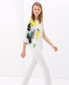 Image 2 of ASYMMETRIC PRINTED T-SHIRT from Zara