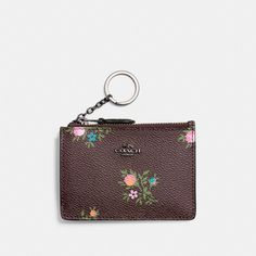 COACH mini skinny id case with cross stitch floral print. #coach #bags #lining #canvas #