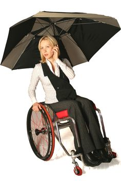 Handsfree umbrella holder for wheelchair users.