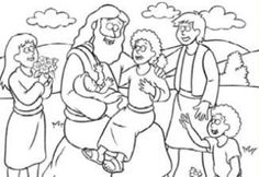 free coloring page jesus and the children we read the beginners bible for most