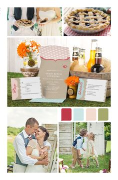 Country wedding inspiration board. As Sweet As Pie invitation design.