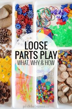 Treasures - Loose Parts Play Loose Parts Play - what is it, why is it cool, and what do you need to do it?Loose Parts Play - what is it, why is it cool, and what do you need to do it? Play Based Learning, Learning Through Play, Early Learning, Kids Learning, Toddler Activities, Learning Activities, Preschool Activities, Kindergarten Inquiry, Preschool Schedule