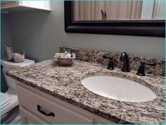 Bathroom Mirror Ideas (DIY) For A Small Bathroom Bathroom Mirror Ideas (DIY) For A Small Bathroom Tags : bathroom mirror and lighting ideas, bathroom mirHouse Giallo Ornamental Granite Countertops Diy Bathroom, Bronze Bathroom, Guest Bathrooms, Bathroom Countertops, Granite Kitchen, Modern Bathroom, Small Bathroom, Bathroom Ideas, Bathroom Updates