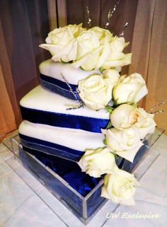 Blue and white with plenty of sparkle is the theme for this wedding.