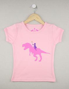 DinoGirl short-sleeve pink - Jusami  Cutest dinosaur shirt ever!
