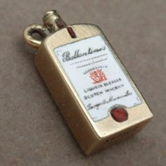 Ballantine's Scotch Bottle Charm Vintage 14k Yellow Gold Enamel