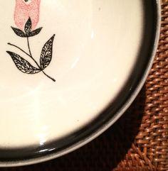 Stetson China, Retro, Set of Four Dessert Plates, Black & Pink Floral, Black Fading Border $17.50 via @shopseen