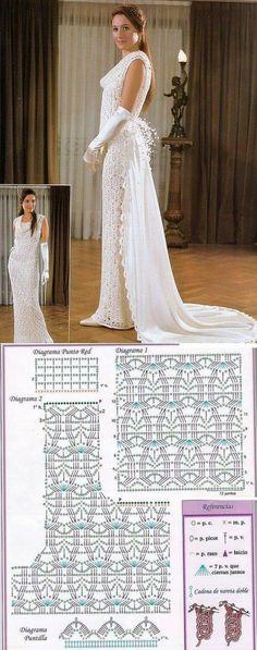 Свадебное платье крючком схема. Платье вязаное крючком ирландское кружево | Домоводство для всей семьи