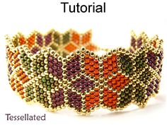 Beading Tutorial Pattern Bracelet - Brick Stitch Christmas Poinsettia Autumn Leaf Bracelet - Simple Bead Patterns - Tessellated #10068 by SimpleBeadPatterns on Etsy https://www.etsy.com/listing/207688953/beading-tutorial-pattern-bracelet-brick