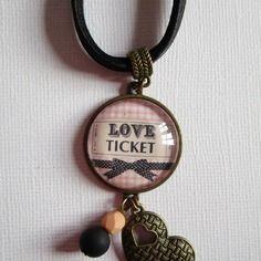 """Collier """"love ticket"""", cabochon bronze, bijou fantaisie"""