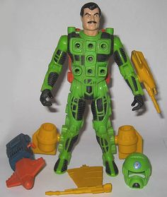 Interchangable weapons that snapped into holes on their costumes. One each for Earth, Land and Sea. Especially loved the green sea guy, because of his stylin' mustache. 1980s Toys, Retro Toys, Vintage Toys, Childhood Toys, Childhood Memories, Cartoon Toys, Dexter Cartoon, Toys In The Attic, Kenner Toys